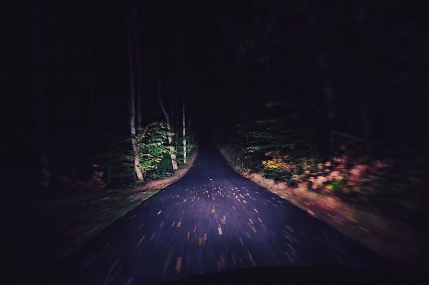 Night Road Autumn Leaves Longwayhome Driving