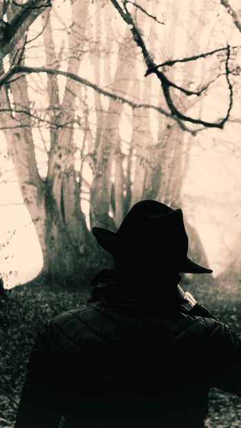 Man in the woods ❤ Hat One Person Silhouette Real People Indoors  Adult People Day One Man Only Adults Only Man In The Woods Man Cold Day Misty