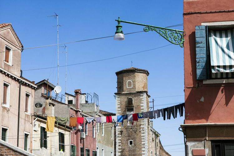 Venice Italy Europe Famous Place Travel Laundry Clothesline City Urban Building Exterior Lamp Street