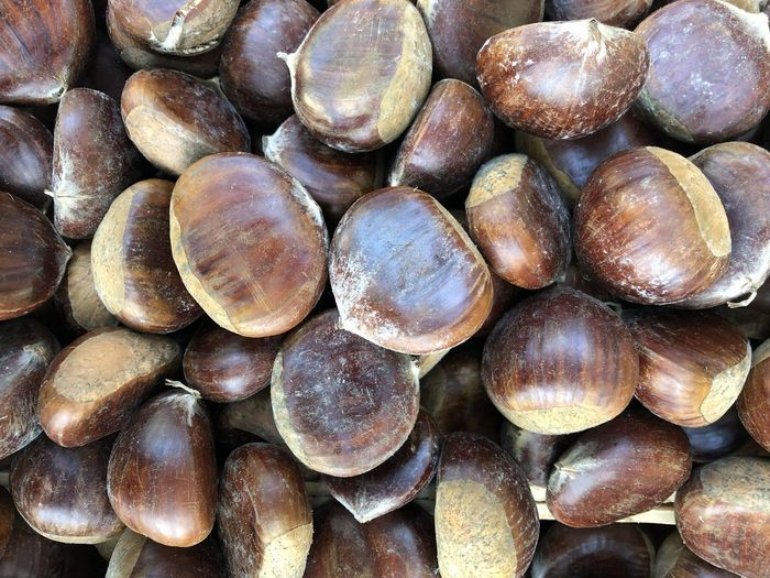 Full Frame Large Group Of Objects Backgrounds Still Life Food And Drink Wellbeing Food Freshness Close-up Brown Nut Healthy Eating Abundance No People Nut - Food Chestnut - Food Day High Angle View Indoors  Market