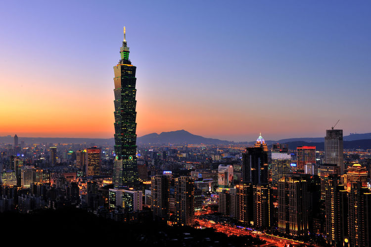 Architecture Building Building Exterior Business Finance And Industry City City Cityscape Downtown District Illuminated Landscape Modern Night No People Outdoors Sky Skyscraper Sunset Taipei 101 Taiwan Tower Travel Travel Destinations Urban Skyline