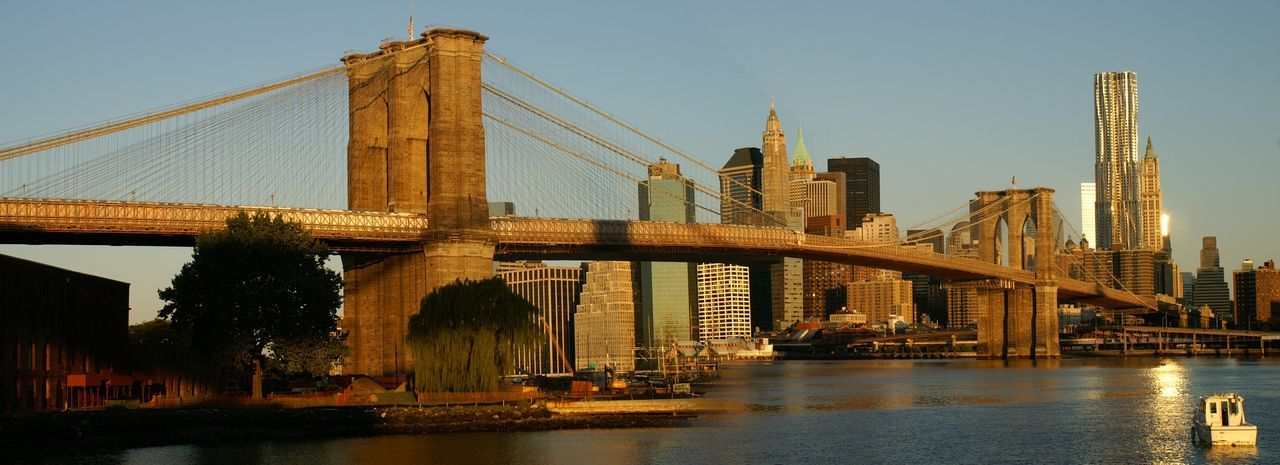 View of suspension bridge with city in background