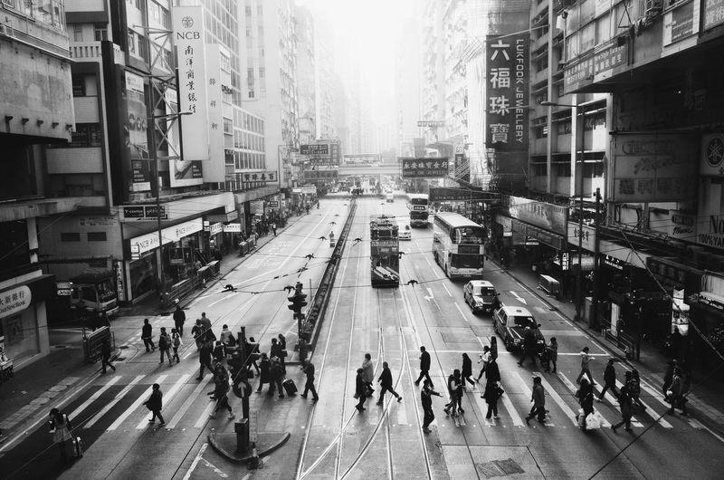 Pedestrian crossing, Causeway Bay, Hong Kong. Hong Kong Black And White