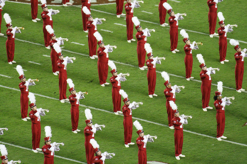 Trumpets of the University of Alabama Million Dollar Band preforming halftime Halftime Bama Bryant Denny Stadium Crimson Tide  Football Marching Band Marching Band Instruments Million Dollar Band Trumpet Tuscaloosa, Alabama University Of Alabama The Color Of Sport