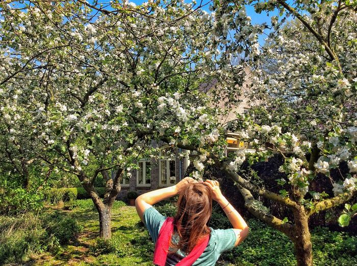 Blossom garden Photgrapher Blossom Orchard Real People Plant Lifestyles One Person Leisure Activity Day Tree Nature Women Green Color Casual Clothing Enjoyment Outdoors Females Young Adult Sunlight Adult Arms Raised