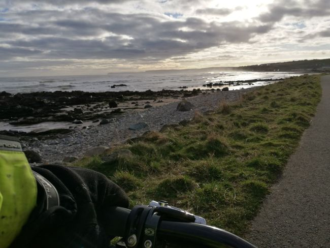Lucky Man Pedalling To Work Aberdeenshire Northeast Coast Sea Nature Beach Reflection Horizon Over Water Scenics Water Cloud - Sky Outdoors Grass Wave Moray Firth One Person Commuting