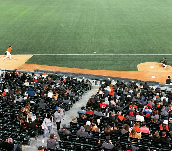 High angle view of people in stadium