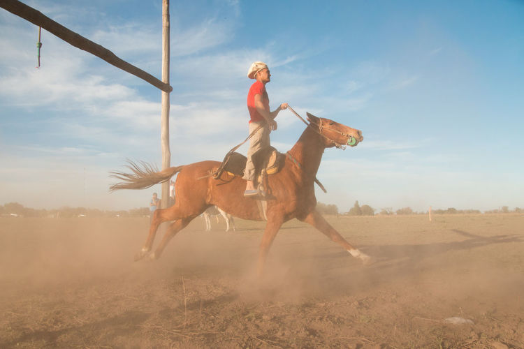 Full length of person riding horse on land against sky
