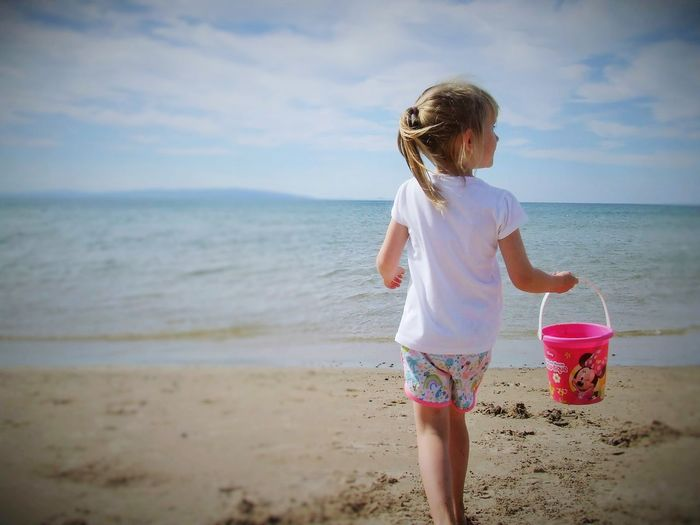 Little Girl Beach Sea Sand One Girl Only Horizon Over Water Child Wave Water Children Only One Person Nature People Childhood Outdoors Day Adult Tranquil Scene Travel Photography Ireland🍀 Ocean Waves Beachphotography Sky
