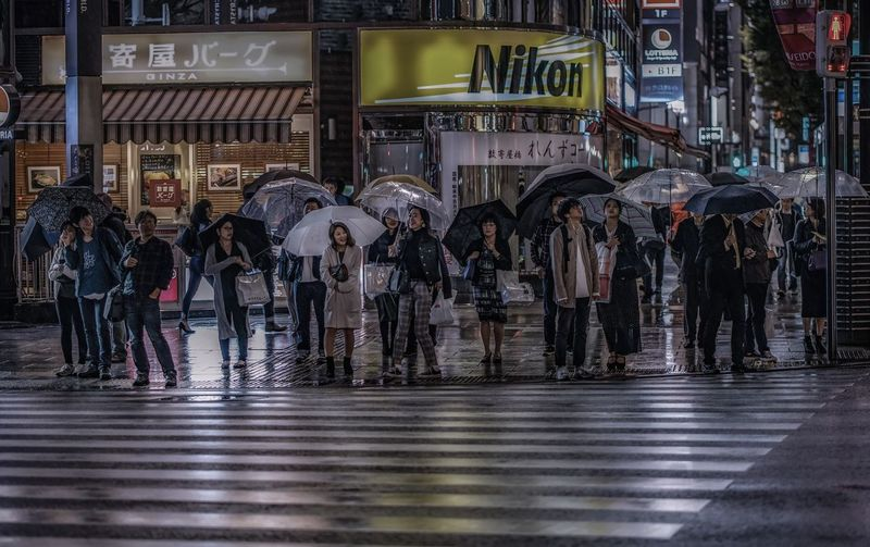HDR Japan Tokyo Architecture Building Exterior Built Structure City City Life City Street Crowd Group Of People Large Group Of People Men Outdoors Protection Rain Rainy Season Real People Street Street Photography Streetphotography Umbrella Water Wet Women