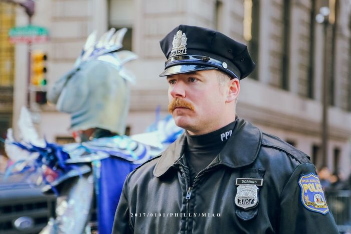 Police officer on the day of Mummers Parade MummersParade2017 Mummers Parade Parade Philadelphia