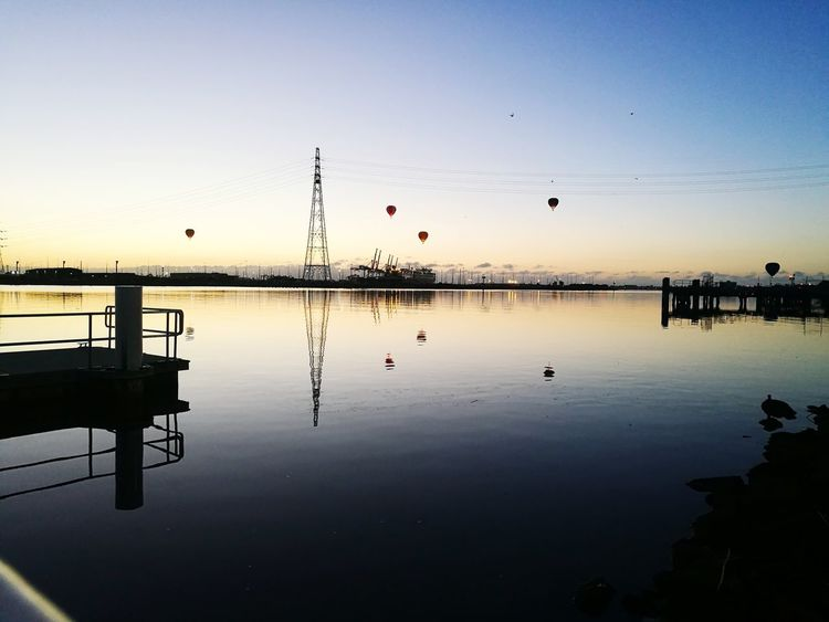 Industrial Landscapes Balloon Sunrise Reflection Silhouette Sky Water