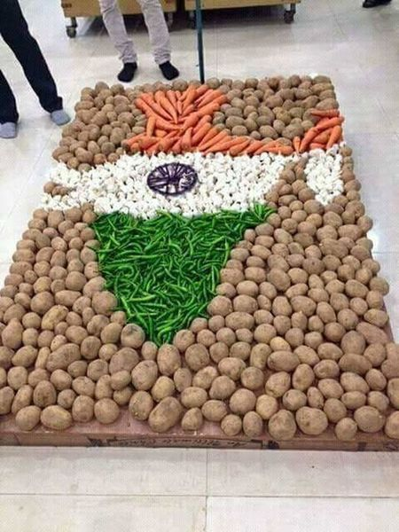 india map with vegetables