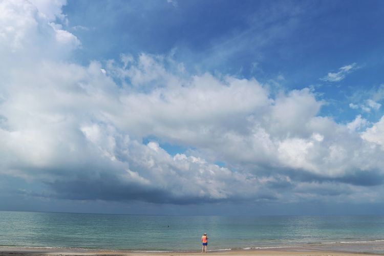 Water Sea Beach Full Length Sand Summer Blue Red Storm Cloud Panoramic Low Tide Seascape Coast Horizon Over Water