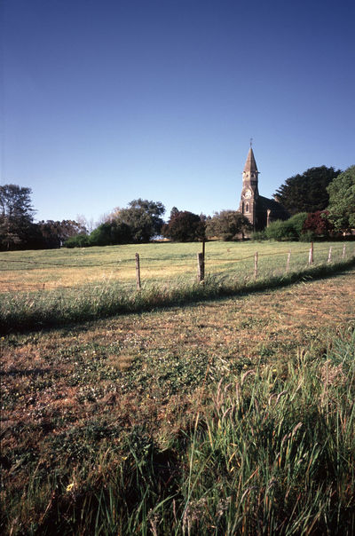 church and fields in the small victroian village of wycliffe Australia Day Downunder Fence Field Fields Grass Grass Landscape Off The Glenelg Highway Outdoors Presbyterian Church Rural Scene Wickliffe Wickliffe Presbyterian Church