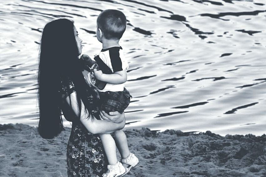 TakeoverContrast Ansysellin 2016 Krivoyrog Day Person Looking At Camera Ukraine People Beautiful People Beauty Long Hair Black And White Vertical Flame Lifestyles EyeEm Best Shots Summer Sun Child Baby Young Mom And Son River Ocean