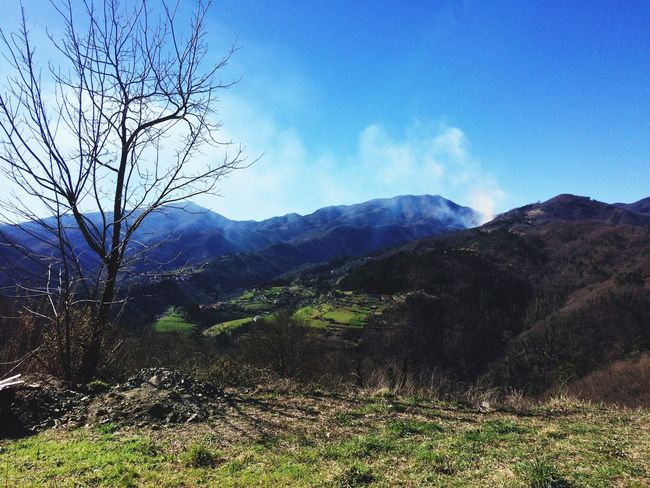 Northtuscany Scenics Serenity End Of Winter Marzo March Mountain Outdoors Landscape Nature Sunny Italy Sun Tranquil Scene Sky Forest