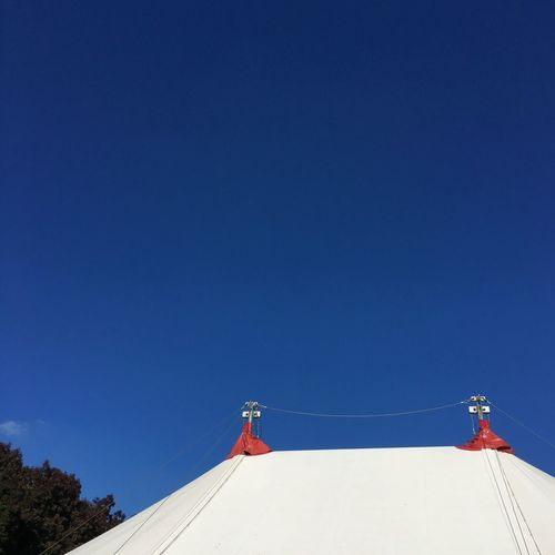Big top Blue Sky Copy Space Circus Tent Bigtop Sky Blue Nature Architecture Copy Space Communication Clear Sky No People Outdoors Low Angle View Day Sunlight