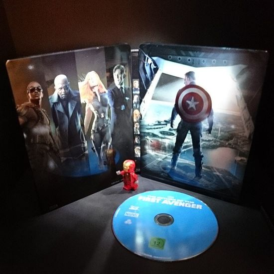 """Going to watch Now :) ! Steelbook Bluray Marvel superheroes """"the return of the first avenger """" captainamerica lego minifigure ironman movie ... play"""