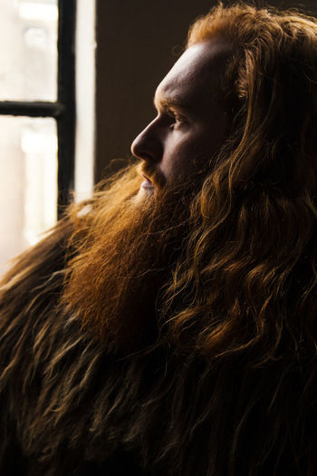 profile of a viking Beard Bearded Big Beard Close-up Day Indoors  Lifestyles Lion Moustage One Person People Profile Real People Red Beard Red Hair Red Hair ❤ Redhead Sheepcoat Young Adult