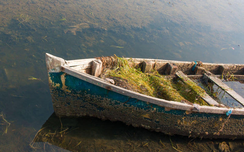 Abandoned Boat Day High Angle View Nature Nautical Vessel No People Outdoors Scenics Sunken Transportation Water Waterfront EyeEmNewHere