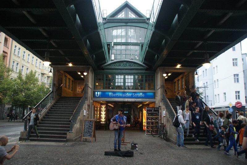 Man walking at railroad station