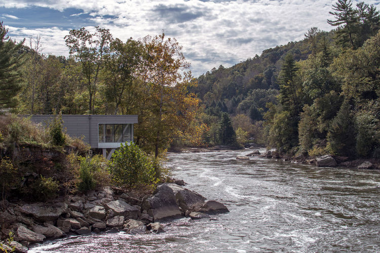 guest center in the ohiopyle state park, along the youghiogheny river in pennsylvania usa