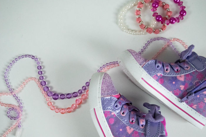 Beads Copy Space Feminine  Braclet Celebration Close-up Copyspace Day Femininity Girly Girlygirl Girlythings Indoors  Jewelry Little Girl No People Pink Color Purple Ribbon - Sewing Item Shoes Sneakers Style Styled