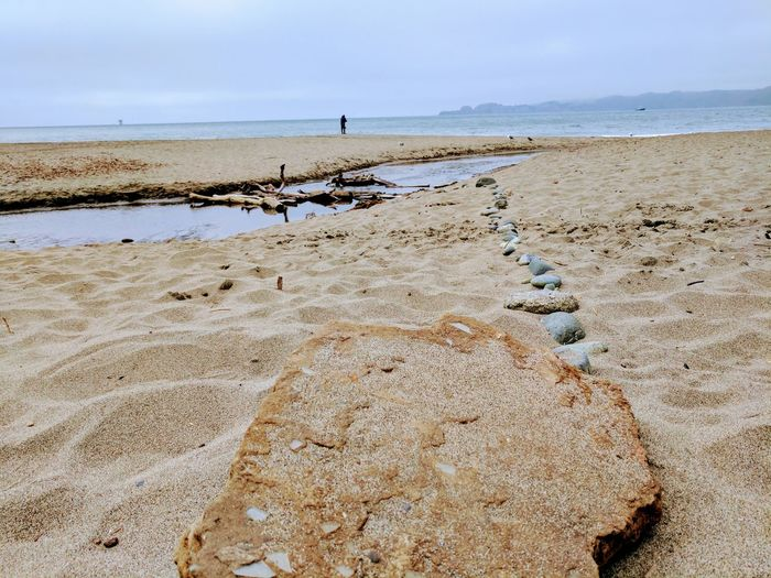 A path Beach Sand Sea Nature Horizon Over Water Water Tranquility Day Sky Beauty In Nature Outdoors Scenics San Francisco California City Summer Close-up Ocean Rock Stone Weather Wood Washed Up On Beach Beach Photography
