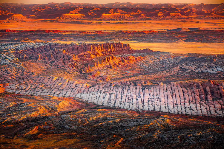 Aerial view on the landscape of the arches national park, utah at sunrise