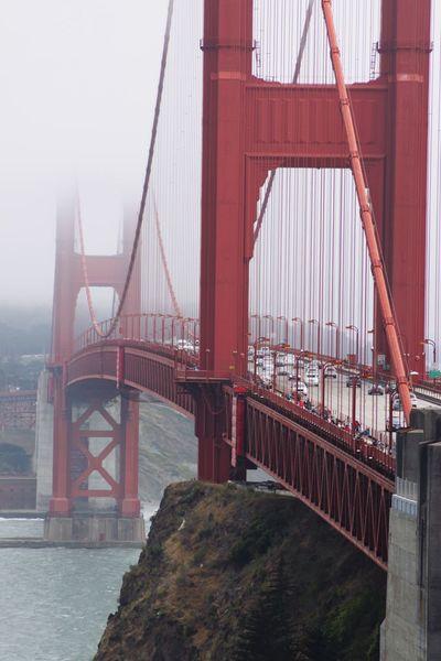 Golden Gate Bridge Water Cars Transfer Foggy Steel Vertical Fog Golden Gate Bridge Bridge - Man Made Structure Connection Engineering Architecture Suspension Bridge Built Structure Transportation