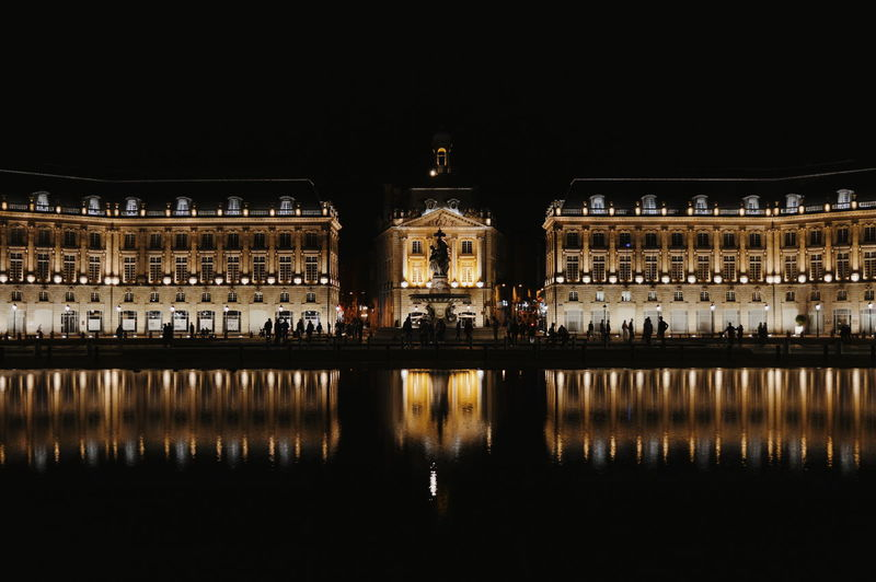 Reflection of building in lake at night