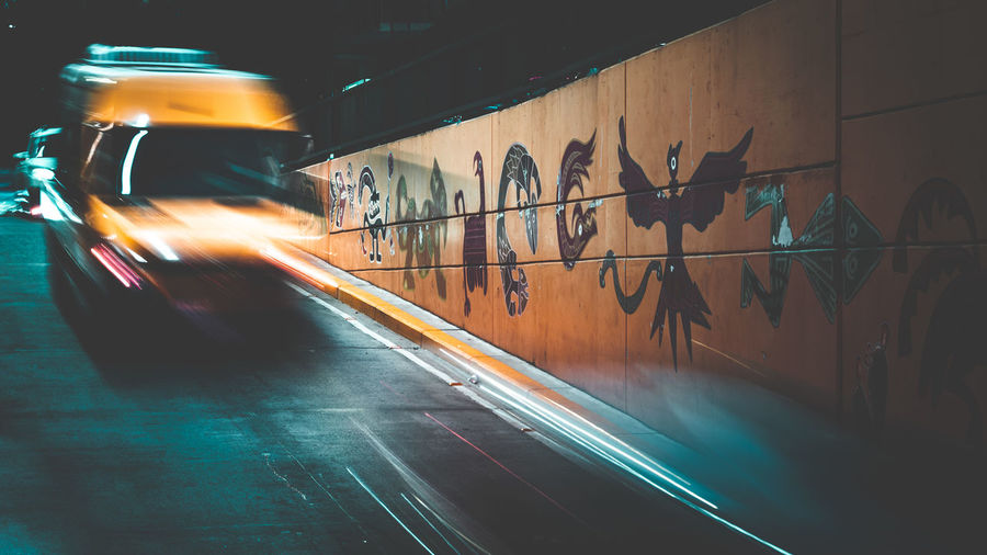Motion Blurred Motion Transportation Mode Of Transportation Speed Architecture Wall - Building Feature Land Vehicle Night on the move City No People Illuminated Indoors  Long Exposure Sport Built Structure Graffiti Underground Tunnel