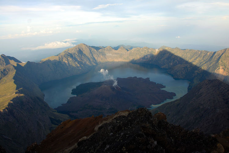 High Angle View Of Volcano Crater And Mountains