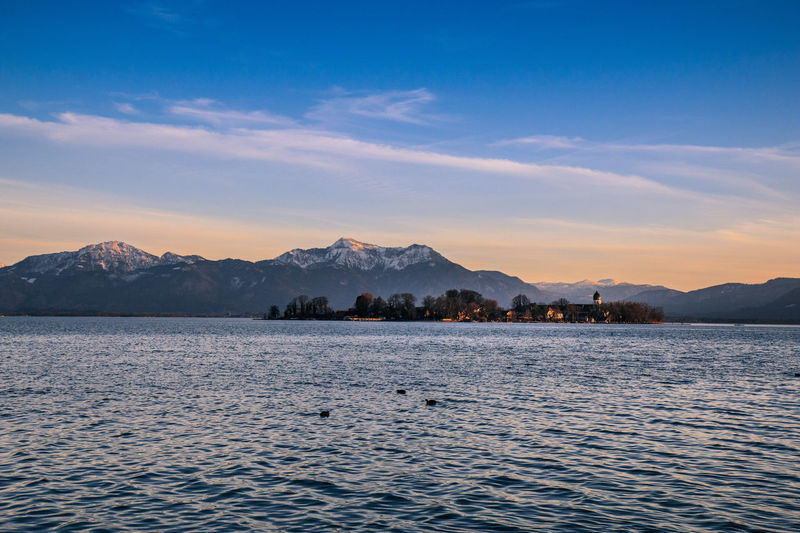 Blick zur Fraueninsel Beauty In Nature Day EyeEm Best Shots EyeEm Nature Lover Island Lake Lakeview Landscape Moon Mountain Mountain Range No People Outdoors Scenics Sky Snow Sunset Water