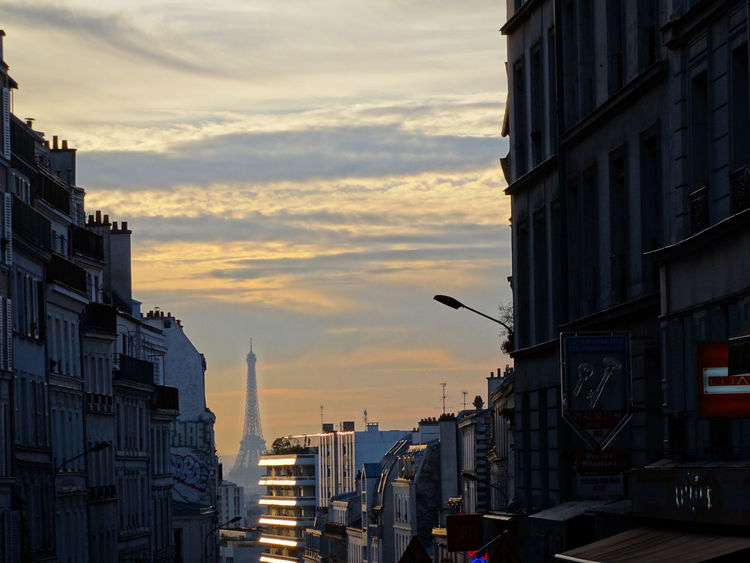 Sunset in Paris Architecture Building Exterior Built Structure Sunset City Sky Building Cloud - Sky No People Residential District Nature Outdoors Street Orange Color Cityscape City Life Travel Destinations Dusk Low Angle View Travel Sunset In Paris Eiffel Tower Cityscape