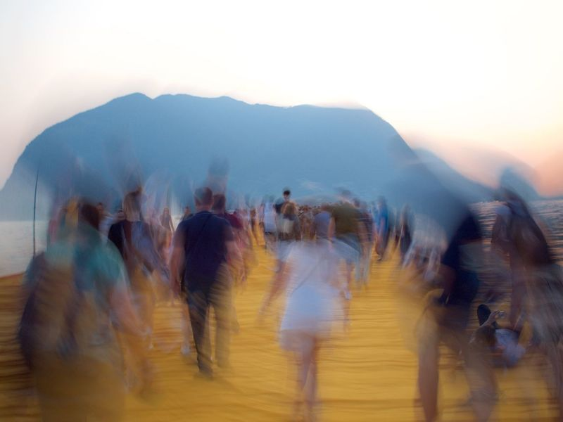 Floating On Water Floating Piers Iseo Lake Italy Brescia 2016 Christo Sulzano Blurred Motion Motion Group Of People Walking Real People Crowd Large Group Of People City on the move Men Adult Women Day Nature Lifestyles Sky Transportation Speed Leisure Activity Outdoors