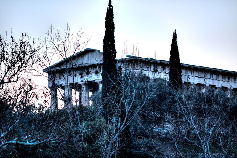 Temple of Hephaestus Ancient Athens, Greece GREECE ♥♥ Greece Photos Ruins Temples Architecture Athens Bare Tree Building Exterior Built Structure Day Greece Low Angle View No People Outdoors Plant Ruins Architecture Sky Temple Temple - Building Tree