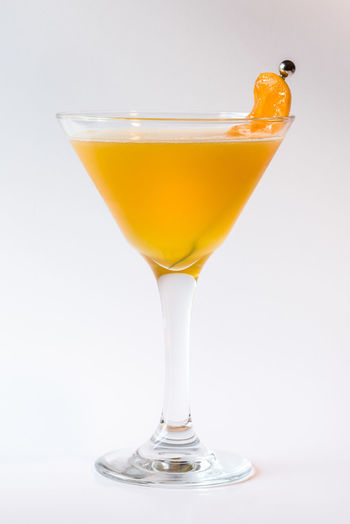 Peach martini Adult Alcohol Beverage Close-up Cocktail Cocktail Drink Food And Drink Fruit Libation Liqueur Martini Peach Stemware Tropical Drink White Background