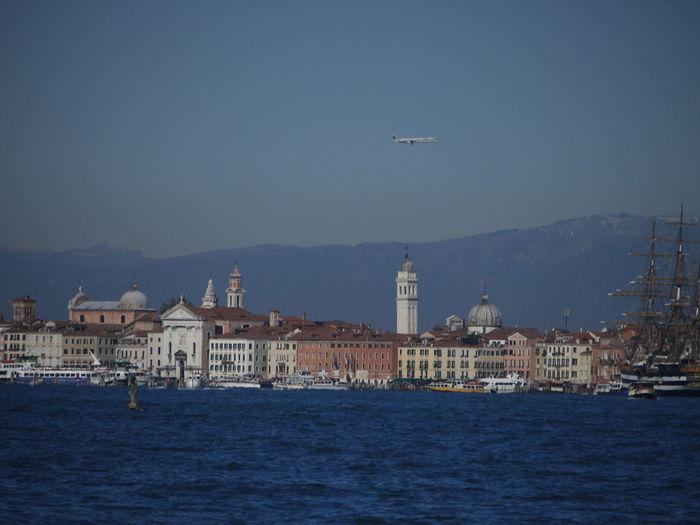 View of laguna die venezia and buildings of venice, italy against sky