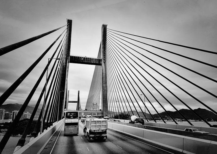 HongKong No People Transportation Architecture Built Structure Sky Bridge - Man Made Structure Bridge Mode Of Transportation Day City Car Road Travel