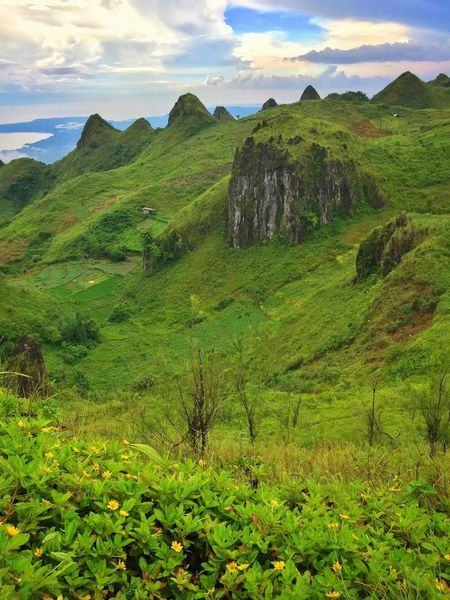 Mountain Scenics Green Color Nature Beauty In Nature Landscape Sky Outdoors Grass Cloud - Sky Day Mountain Range Scenery Tourism Travel Destinations Blue Sky Osmeña Peak Cebu City, Philippines