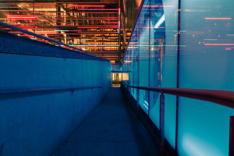 Architecture Illuminated Built Structure No People Building Metal Night Footpath Blue