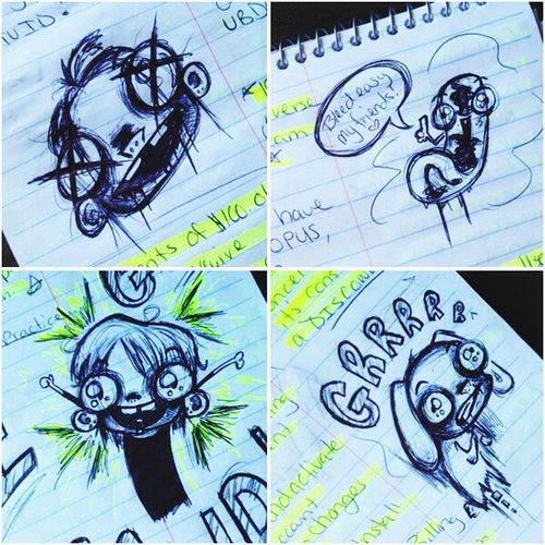 The things I doodle at work.. Ballpoint Pen Sketch Art Cartoon Doodle Drawing Cute Creepy Ink