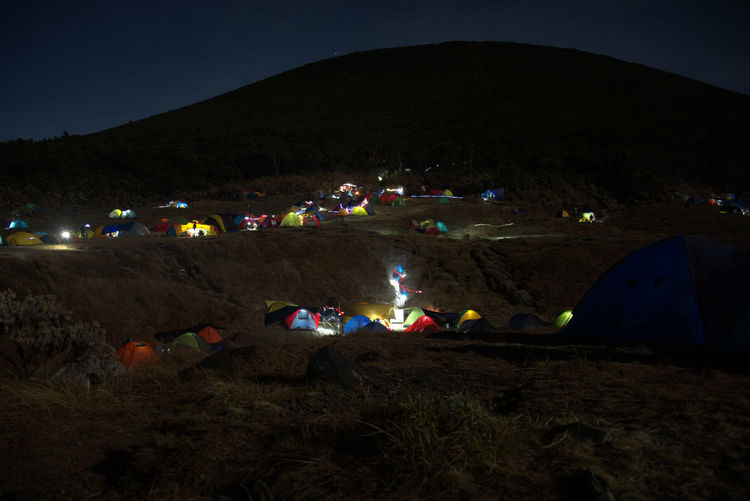 camping ground EyeEmNewHere Adventure Camping Gedepangrango Glowing Land Lifestyles Mountain Nature Night Outdoors Sky Slowshutter Slowspeed Tent