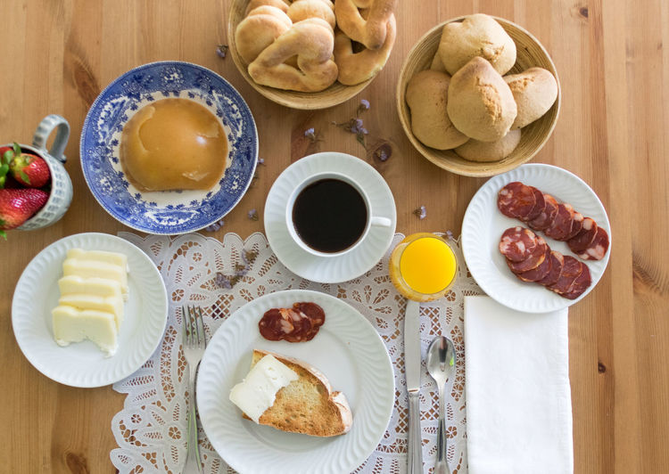 Coffee Bowl Bread Breakfast Day Directly Above Food Food And Drink Freshness Healthy Eating High Angle View Indoors  No People Plate Ready-to-eat Sweet Food Table