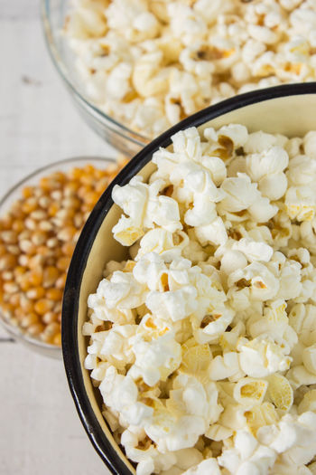 Close-up of popcorn in bowl