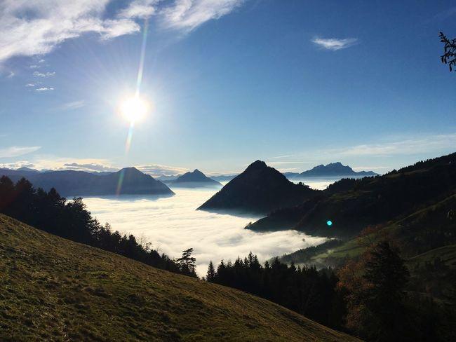 Sky Beauty In Nature Sunlight Scenics - Nature Mountain Nature Water Cloud - Sky Mountain Range Outdoors