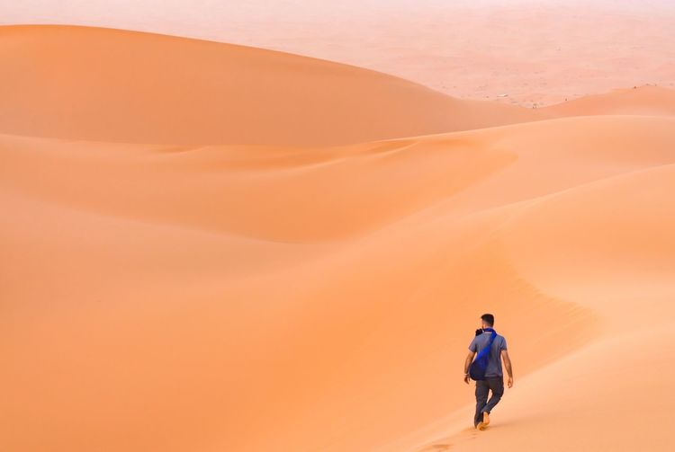 Rear View Of Man Walking In Desert