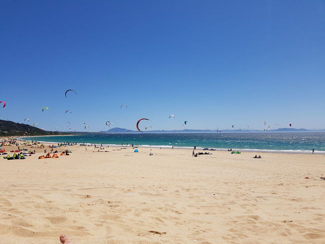 Beach Sand Sea Sunny Blue Water Flying Nature Summer Sky Horizon Over Water Clear Sky Sun Vacations Beauty In Nature Day Outdoors Tarifa Beach Tarifa Spain Kitesurfing